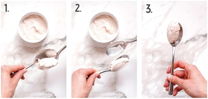Three image collage demonstrating the three steps for forming a quennelle using two spoons. The first two images show two spoons scooping back and forth and the third photo shows the finished quennelle.