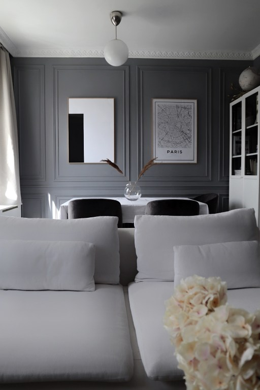 white grey living room wall panels