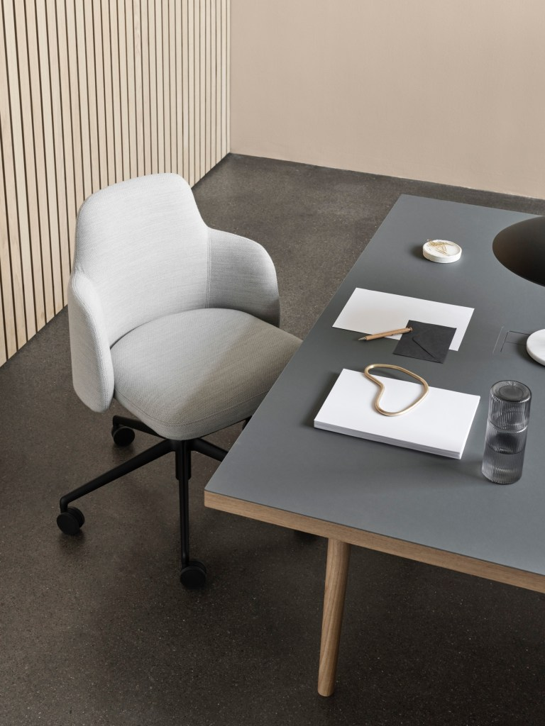 modern office furniture by icons of denmark grey task chair with swivel base and dark grey desk with ferm living stationary