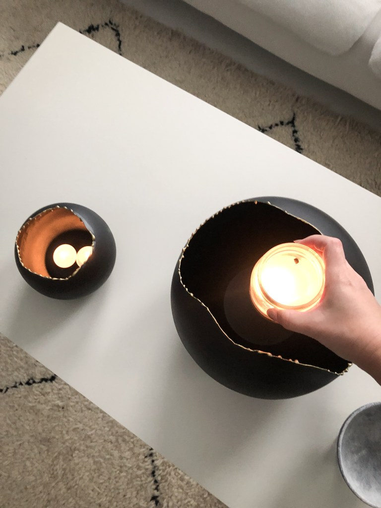 Evo Decorative Bowls close up with candles