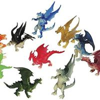 "Just4fun 3 Dozen (36) Mini Dragon Toy Figures - 2"" Party Favors - Prizes - Fantasy - Pretend Play Mythical"