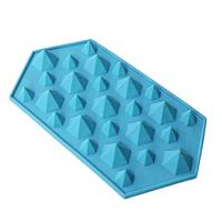 Inverlee Diamond Mold Ice Cube Tray 27 Cavities Crystal Silicone Ice Mold Candy (C)