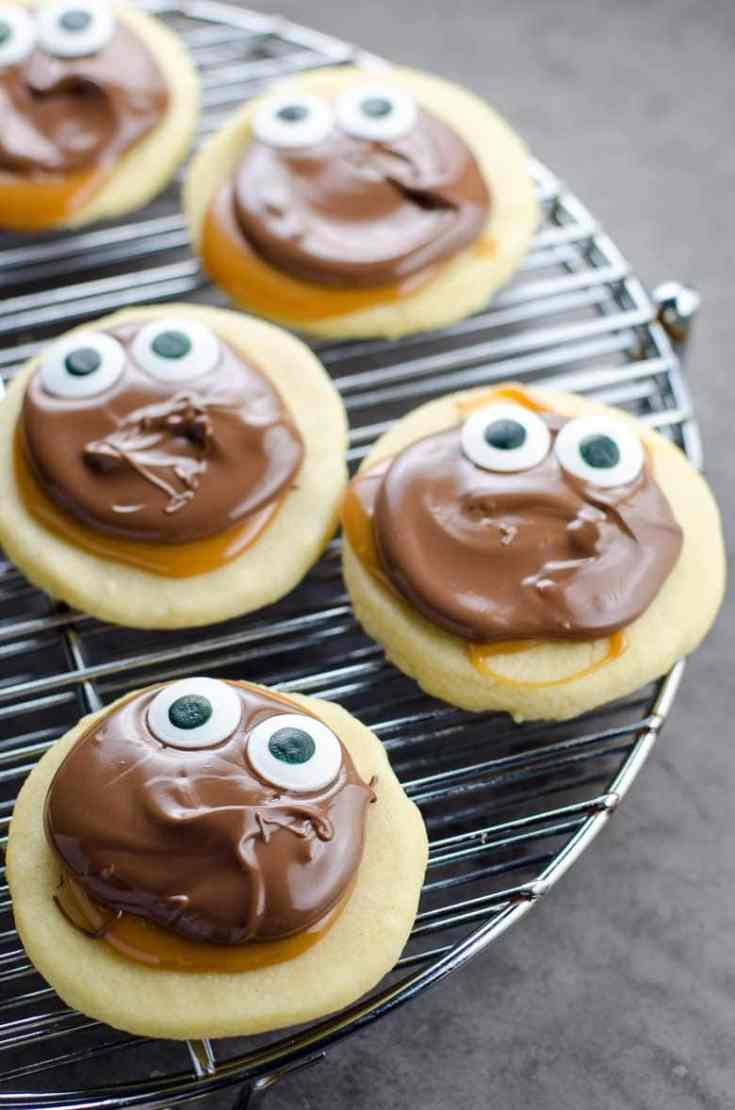 Homemade Twix Cookies with Googly Eyes