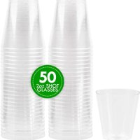 2 oz Shot Glasses Crystal Clear Disposable Hard Plastic Shot Cups - Pack of 50