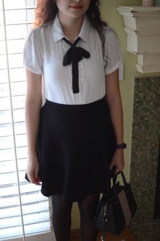 work-ootd-polka-dot-top-knit-tie-neck-flared-black-skirt-2