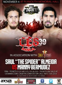 Manny Bermudez faces off against the veteran Saul Almeida at CES MMA 39