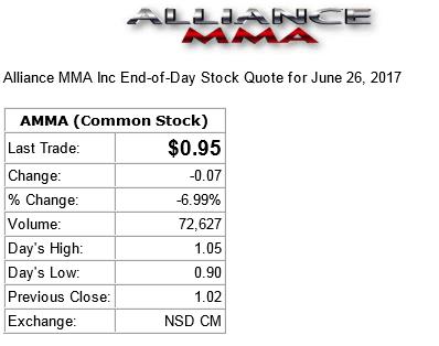 alliance mma stock hits