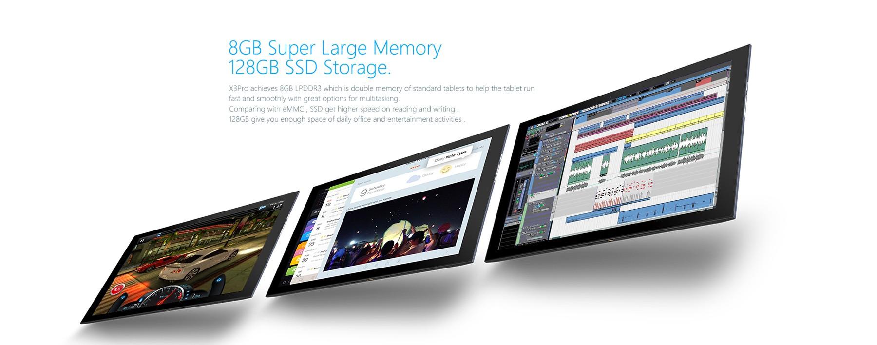 Teclast X3 Pro 2 in 1 Ultrabook Tablet PCレビュー メモリRAMとROMのスペック参考画像