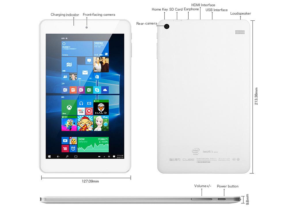 Cube iwork8 Ultimate 8.0 inch Tablet PC 大きさサイズ感スペックレビュー参考写真