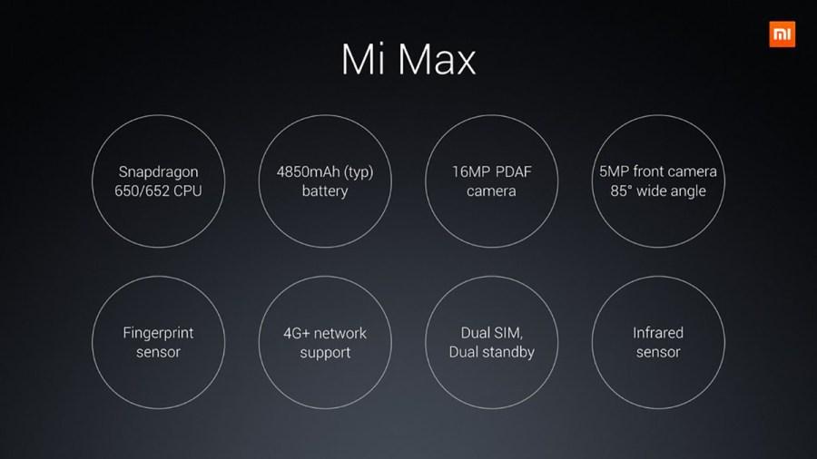 Xiaomi Mi MAX スペック説明 カメラや指紋認証などの説明参考画像