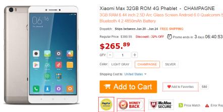 Xiaomi Mi MAX 購入サイトイメージ画像
