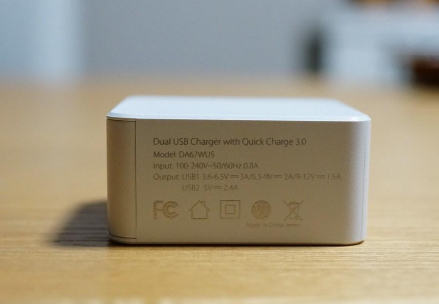 dodocool 急速充電Quick Charge 3.0対応 2ポートUSB充電器レビュー 認証マークなどの説明