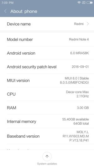 Xiaomi Redmi Note 4 レビュー OTAアップデートした参考画像
