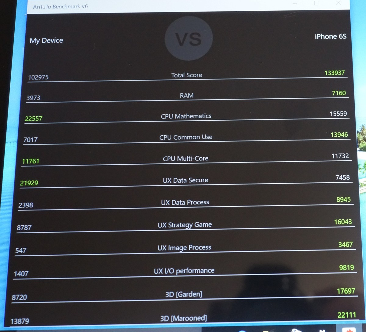 Teclast Tbook 16 Power windows側のベンチマークテスト結果参考画像