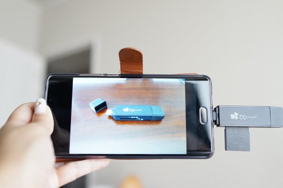 EC Technology OTG機能付きSD/microSDカードリーダーレビュー スマホに接続させ、写真を編集している所の参考画像