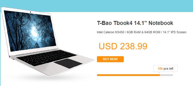 GeekBuyingで T-baoブランドのラップトップセール開催中 $99.99から!