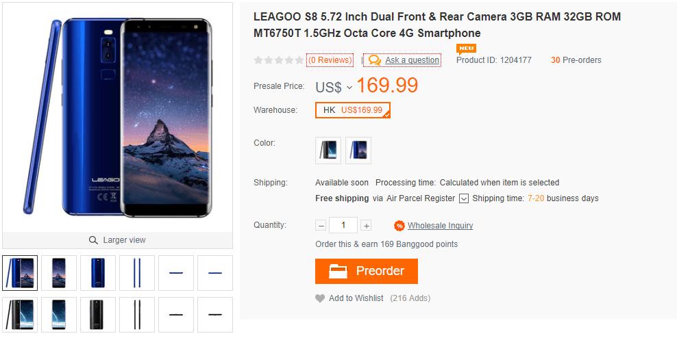LEAGOO S8 $119.99