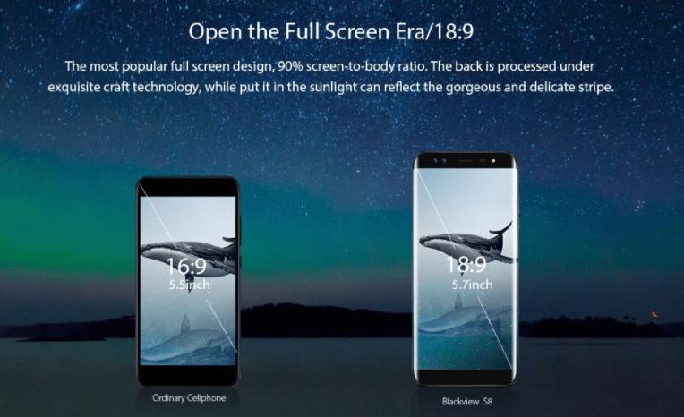 Blackview S8 画面占有率の詳細参考画像