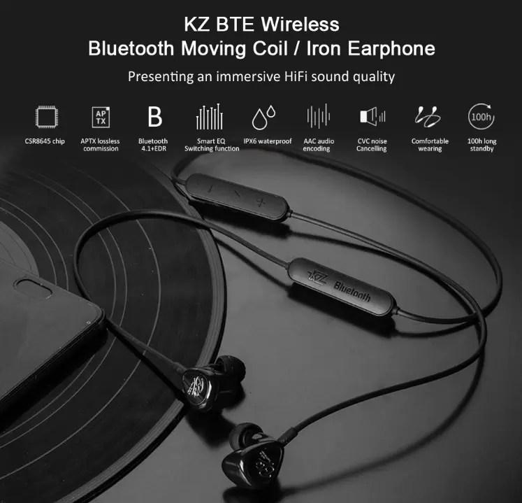 KZ BTE Hybrid Balance Armature Dynamic Driver Sports Bluetooth Earbuds