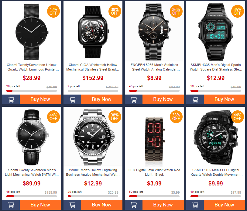 Geekbuyingでwrist watches brand saleで$1.99から格安ウォッチが販売中