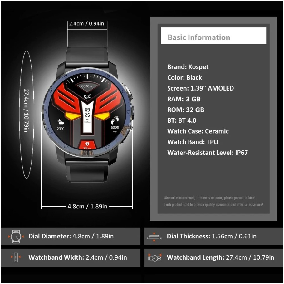 KOSPET Optimus Pro 4G LTE Smart Watch