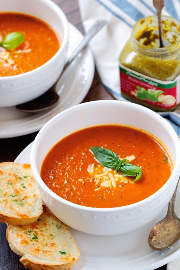 Parmesan Basil Tomato Soup Slow Cooker | Homemade Tomato Soup Recipes