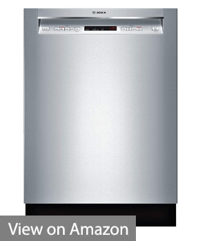 """Bosch SHEM63W55N 24"""" 300 Series Built In Full Console Dishwasher with 5 Wash Cycles,in Stainless Steel"""