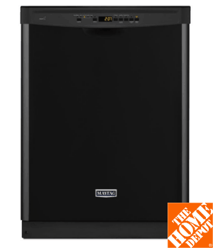 Maytag Front Control Dishwasher in Black with Stainless Steel Tub and Steam Cleaning