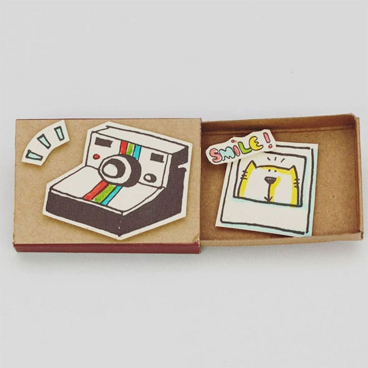 Quirky Matchbox Greeting Cards Open To Reveal Cute
