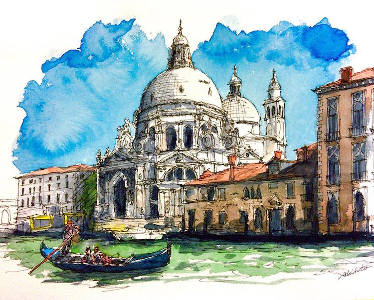 Watercolor Paintings of International Architecture by