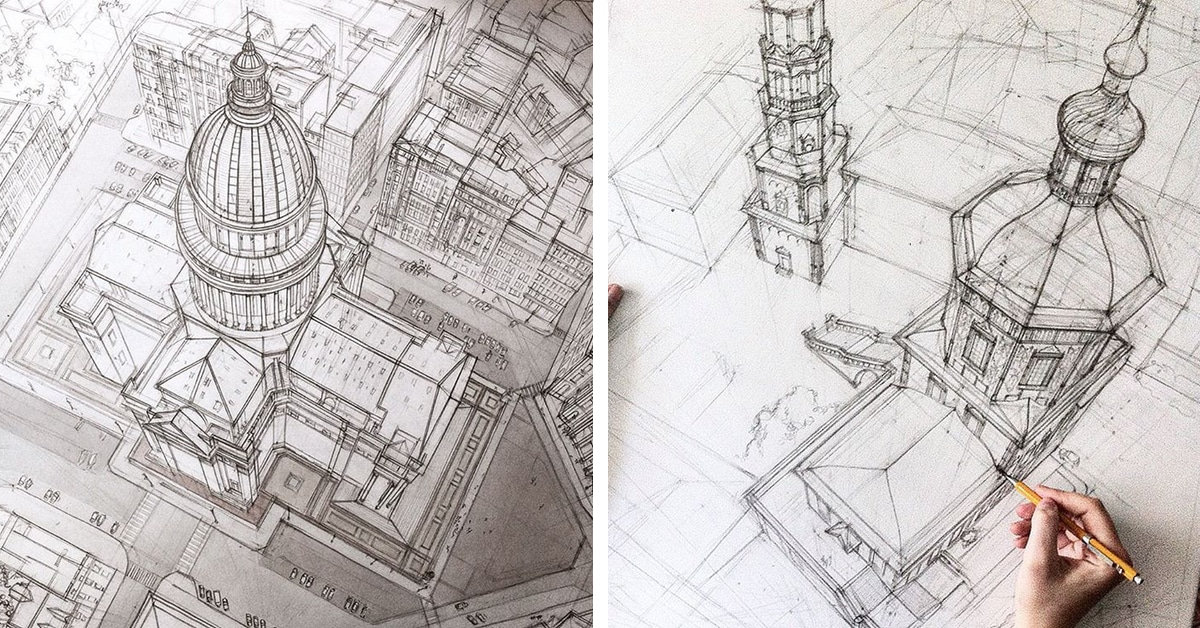 freehand architectural sketches demonstrate