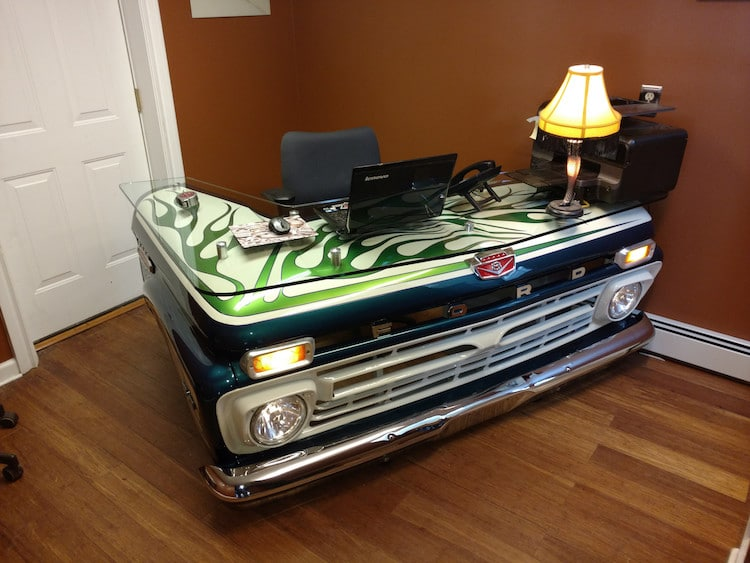 Old Truck Given New Life as One of the Most Creative Desk DIYs