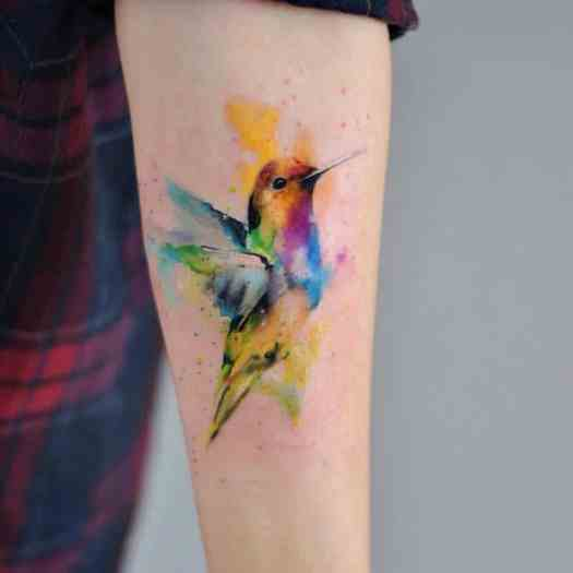 watercolor tattoos hummingbird paint splatter nature art Aleksandra Katsan