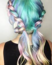 intricate pastel braids making
