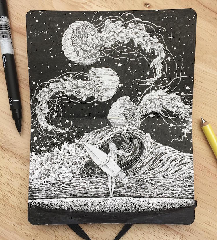 Space Art Combines Animal Illustrations With Cosmic Patterns