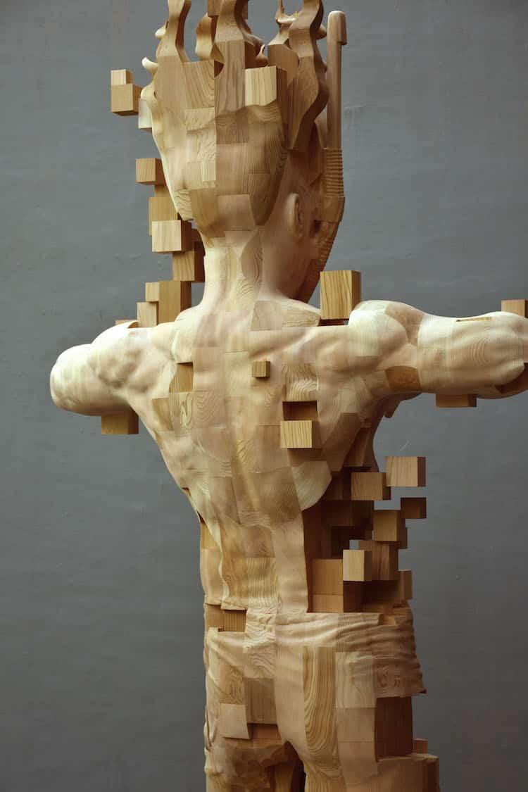 Wood Sculptor Hsu Tung Hans Newest Pixelated Wood Sculpture