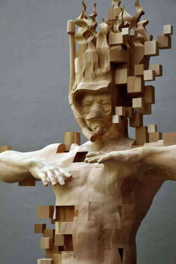 Wood Sculptor Hsu Tung Han' Newest Pixelated Sculpture