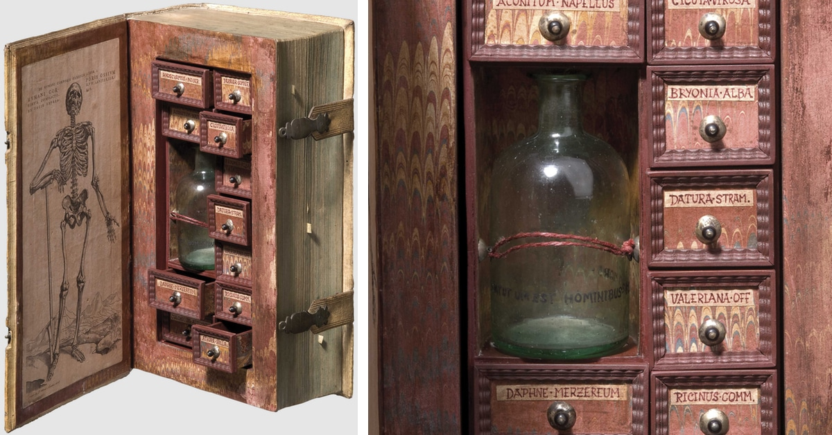 16thCentury Poison Cabinet Created from Hollowed Out Book