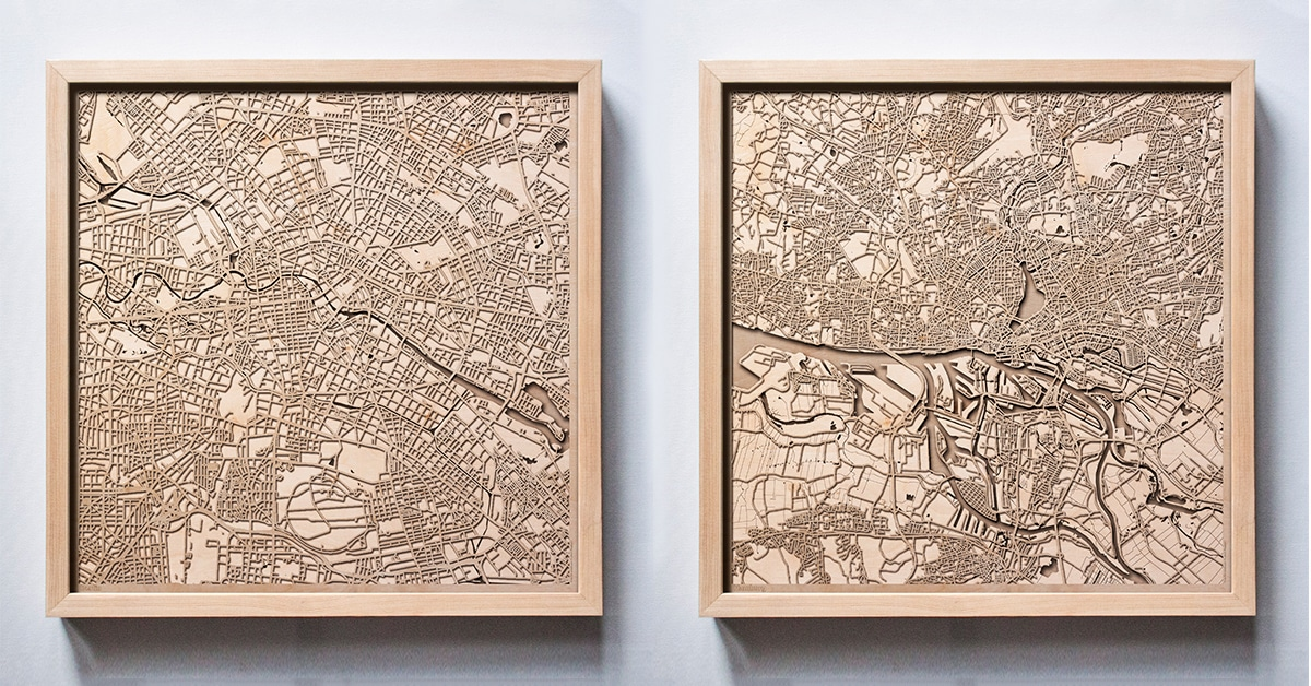 Minimalist City Map Wall Art Is Made From Layers Of Laser