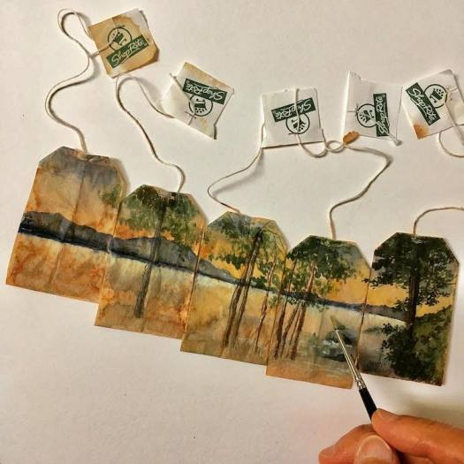 Tea Bag Paintings by Ruby Silvious