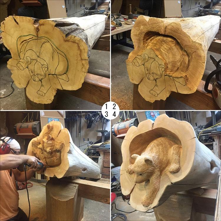 wood carving artist creates