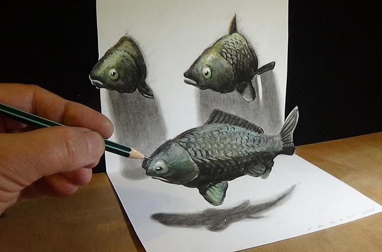 artist creates 3d drawings