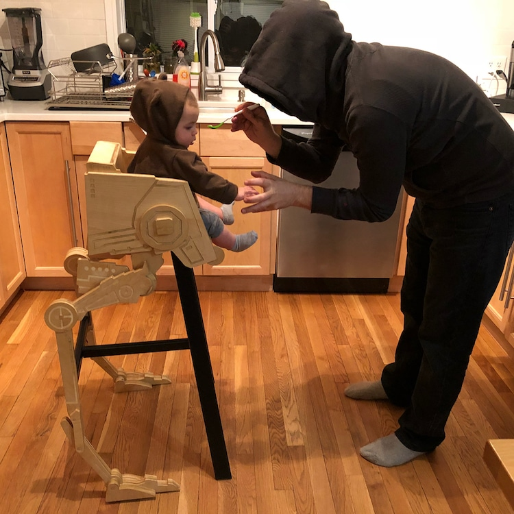 retro high chairs babies revolving easy chair best highchair ever dad creates star wars wooden designer and builder matthew regonini created one of the highchairs