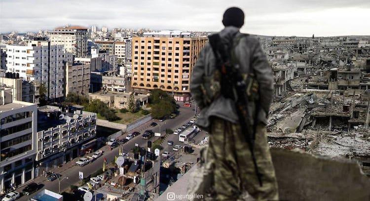 Digital Collage Syrian War Contrasting Photos by Uğur Gallenkuş