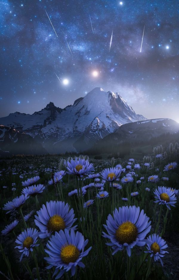 Dreamy Night Landscape Inspired Space Stars And Video Games