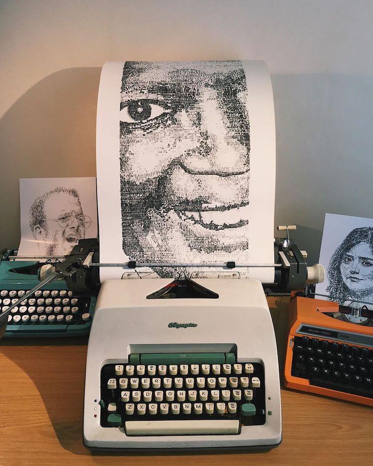 Typewriter Artist : typewriter, artist, Artist, Renders, Striking, Portraits, Using, Typewriter