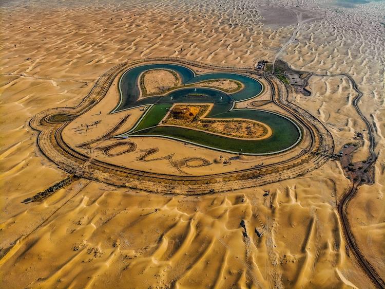 Swim in the Middle of the Desert in Dubai's Heart-Shaped Love Lake