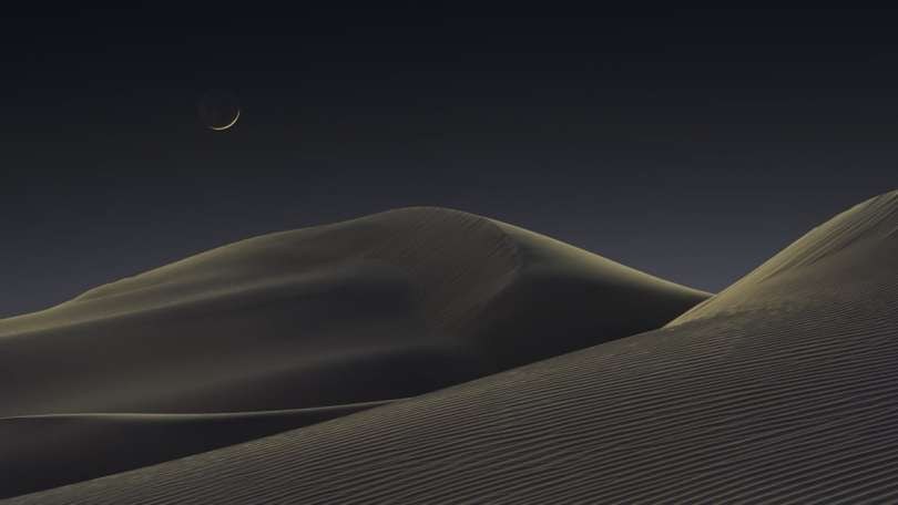 Crescent Moon Over Sand Dunes of Death Valley