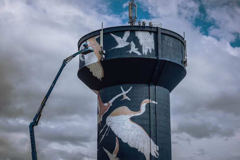 Taquen Painting Water Tower in France