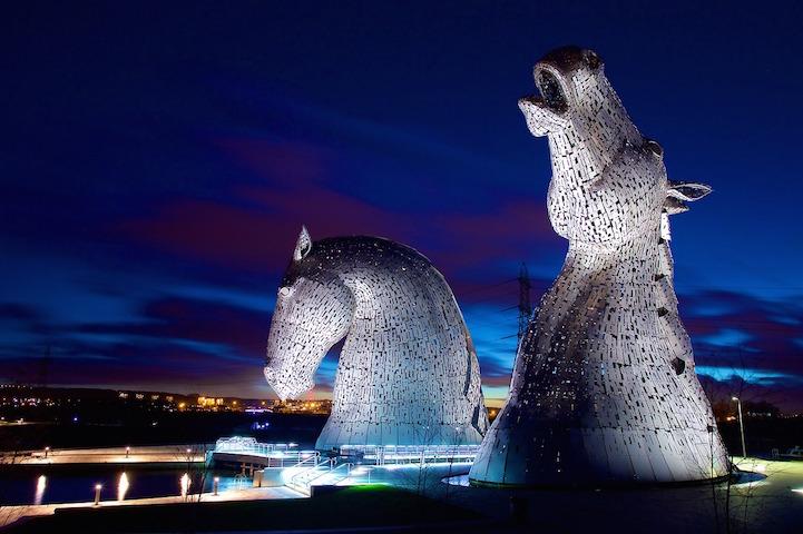 Enormous Horse Head Sculptures Illuminate The Scottish